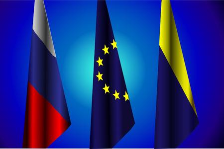 illustration of Flags of Russia, EU, Ukraine, the peace agreement
