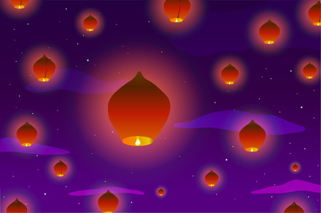 illustration Many Chinese lanterns in the sky at sunset