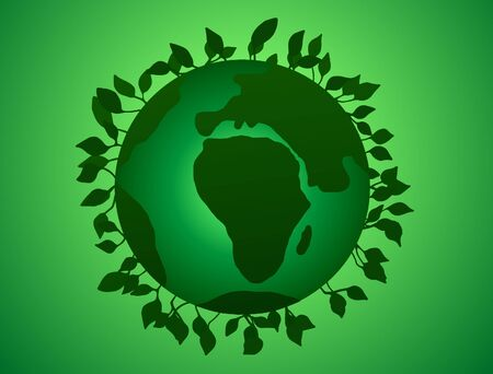 illustration of Earth Day Green Planet with leaves