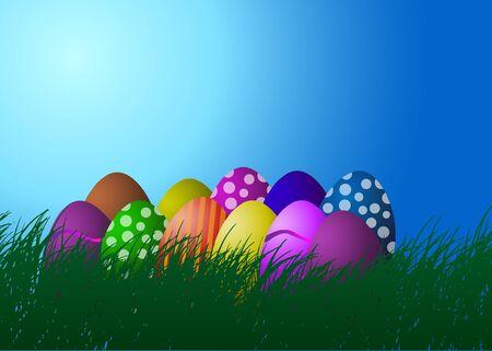 illustration Easter eggs on the grass against the blue sky