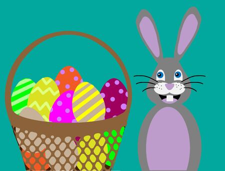 illustration Easter bunny with a basket of colored eggs 向量圖像