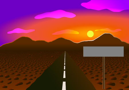 Vector illustration. Road in the desert to the mountains. Sunset and stones 向量圖像