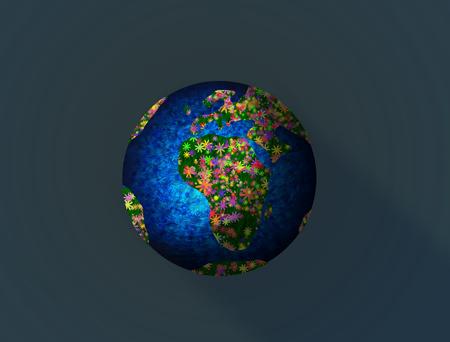 Illustration of Earth Day. Earth in flowers. 版權商用圖片