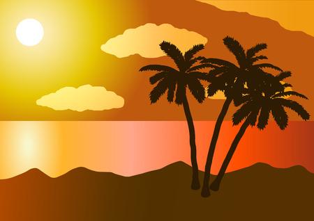 Vector illustration. Sunset in the ocean, beach, palm tree