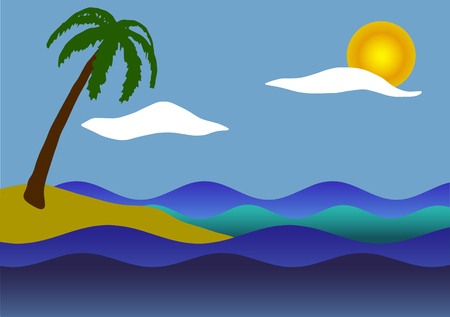 Vector illustration. Palm tree, the sea and waves.