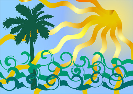 Vector illustration of vocation. Ocean waves and palm tree.