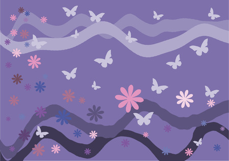 Vector illustration. Butterflies, flowers and waves on a pink background. 向量圖像