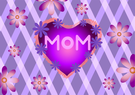 Vector illustration of Mothers Day. Flowers on a purple background.