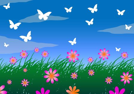 Vector illustration. Grass, sky and meadow flowers.