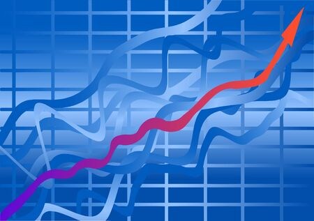 Vector illustration. Growth chart. Red arrow on a blue background.