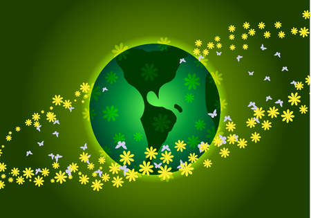 Vector illustration. Earth Day. Green Planet and yellow flowers. 向量圖像