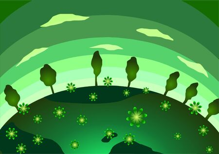 Vector illustration. Earth Day. Green Planet, flowers and trees.