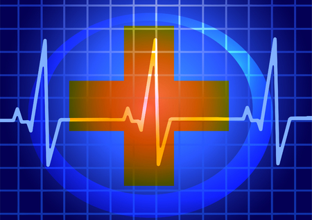 Vector illustration. Medicine. The heartbeat and the cross. Vector