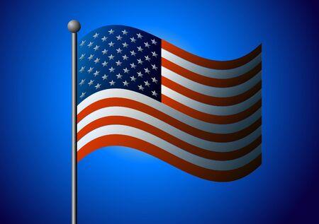 Vector illustration. American flag on a blue background. 向量圖像