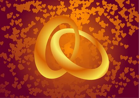 Vector illustration. Wedding rings and hearts.
