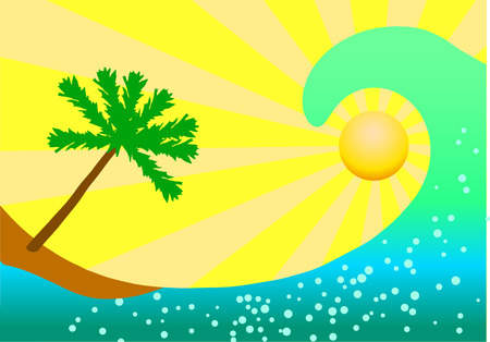 Vector illustration of vocation. Ocean wave and palm tree on yellow background. 向量圖像