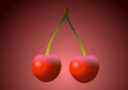 Vector illustration. Cherries on a red background.