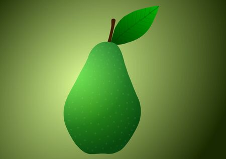 Vector illustration. Pear on a green background.