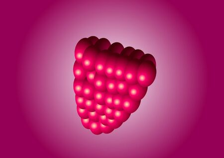 Vector illustration. Raspberries on a red background.