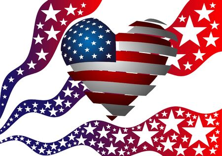 Vector illustration. The symbolism of the American flag. Heart, Stars and Stripes. 向量圖像