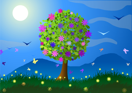 Vector illustration. Spring. Flowering tree, mountains and flowers. 向量圖像