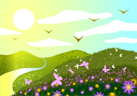 Vector illustration. Spring landscape. Field, flowers, butterflies, sunset and river. Vector