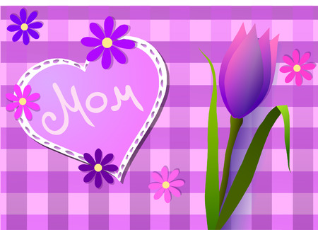 Vector illustration of Mothers Day. Hearts, flowers and tulip.