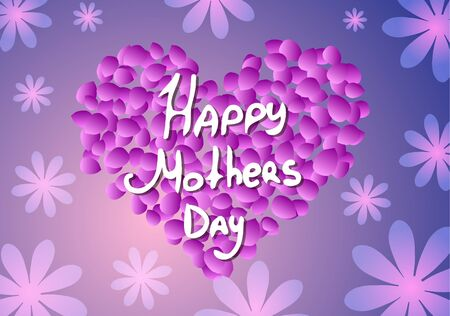 Vector illustration. of mothers Day. Heart and flowers.