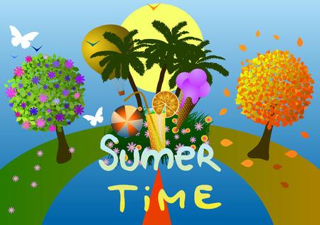 Vector illustration. Calendar of seasons. Spring, summer and autumn.