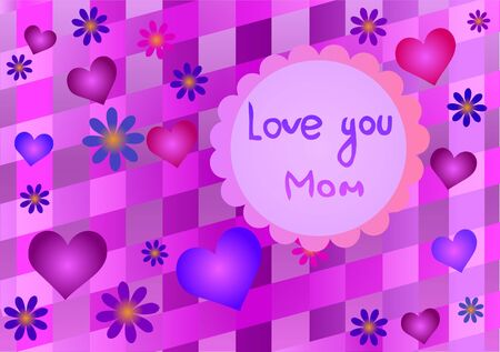 Vector illustration of mothers Day. Hearts and flowers. 向量圖像