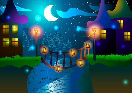 glowworm: Vector illustration. Fabulous houses and a bridge across the river. Night landscape.