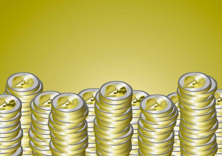 euro coins: Vector illustration. A pile of euro coins on a gold background. Illustration