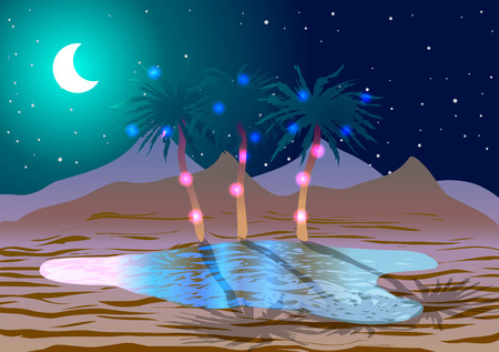 Oasis in the desert at night