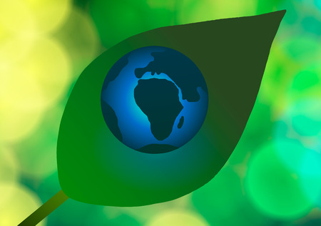 Vector illustration. Earth Day and Ecology. Blue Planet on a leaf.