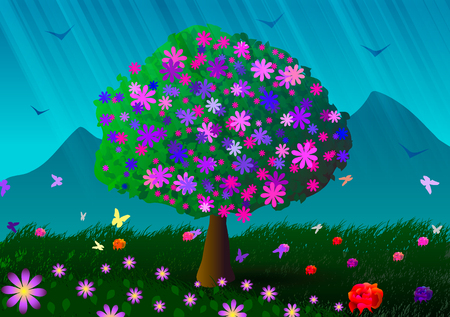 Vector illustration. Spring. Flowering tree, mountains and flowers. Vector