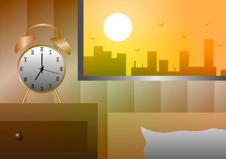 Vector illustration. Alarm clock at the window beside the bed in the morning.