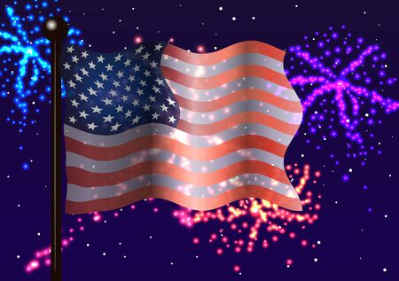 american flag fireworks: Vector illustration. American flag and fireworks
