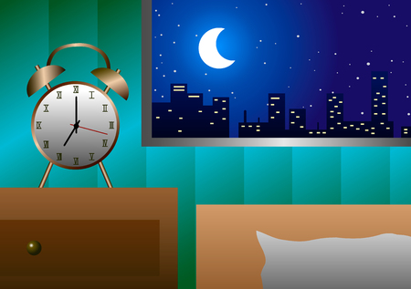 early in the evening: Vector illustration. Alarm clock at the window beside the bed in the evening. Illustration