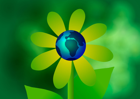 Vector illustration. Earth Day and Ecology. Blue Planet at the center of the flower.