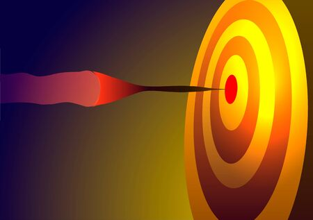 Vector illustration. Achieving the goal. Dart hitting the target.