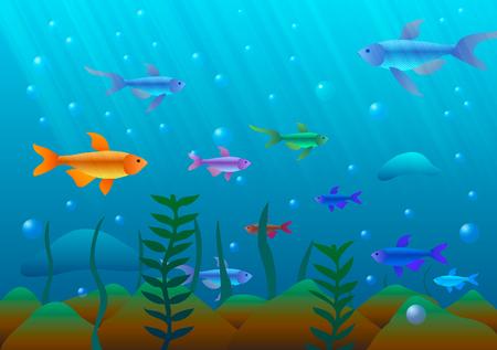 Vector illustration. Underwater world of fish and seaweed 向量圖像