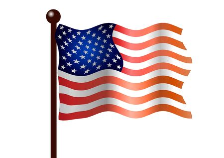 Vector illustration. American flag on a white background