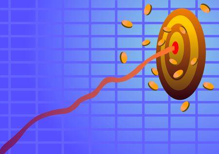 Vector illustration. Achieving financial goals.