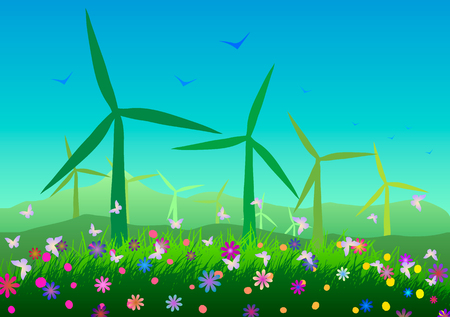 Vector illustration. Ecology. Wind power plants and flowering meadows. 向量圖像