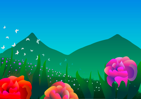 Vector illustration. Spring landscape. Roses, butterflies and mountains.