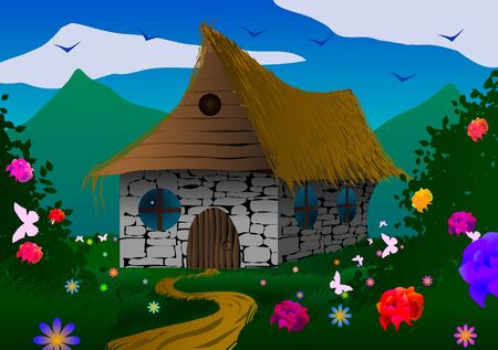 Vector illustration. Fairy-tale house on a meadow with flowers and butterflies.