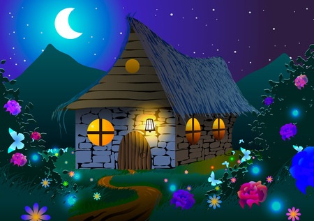Vector illustration. Fairy-tale house on a meadow with flowers and butterflies at night.