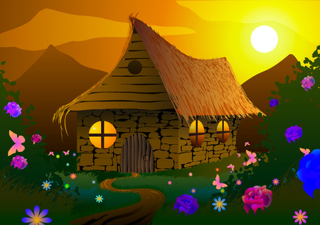 Vector illustration. Fairy-tale house on a meadow with flowers and butterflies at sunset.