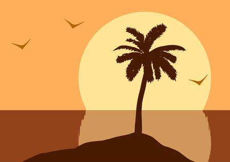 Vector illustration. Sunset in the ocean 向量圖像