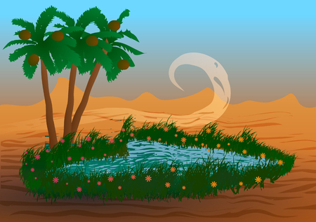 Vector illustration. Oasis in the desert.